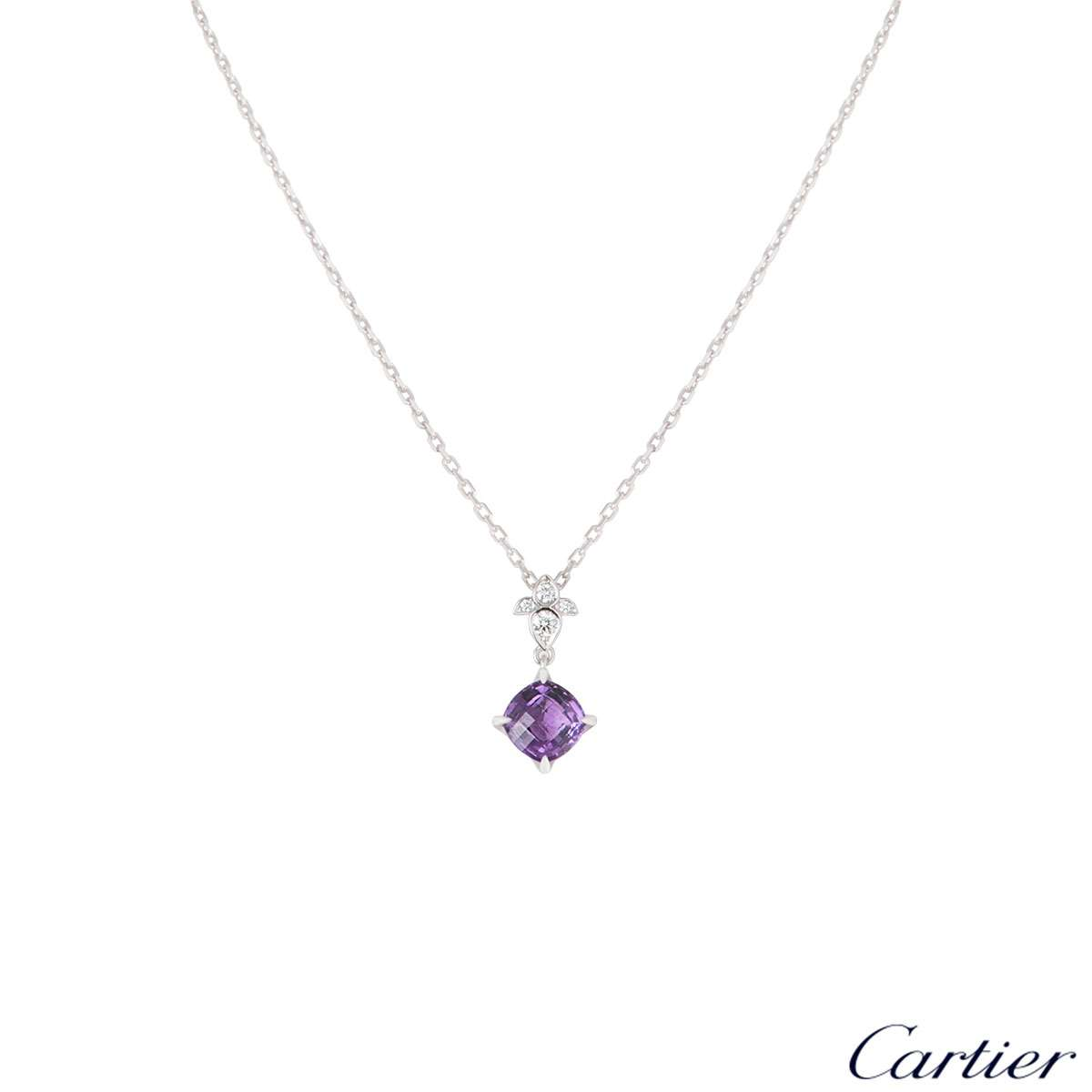 Cartier White Gold Amethyst Lotus Pendant B3041600